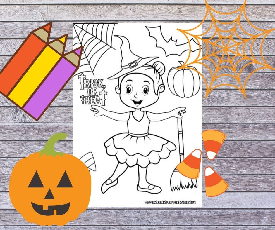 Free Halloween Ballet Coloring Page Resources For Dance Teachers
