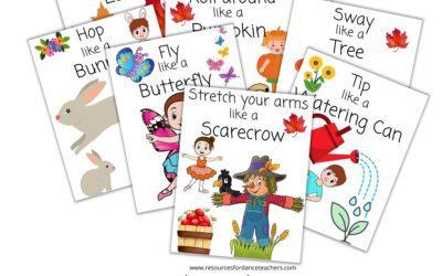 Free Preschool Dance Movement Cards – creative dance ideas and lesson plans